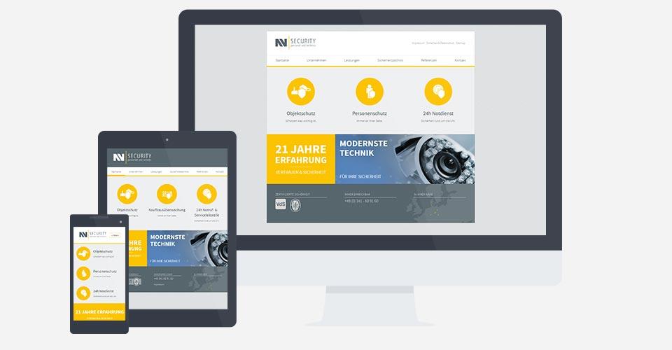 Webentwicklung und Webdesign für NN Security