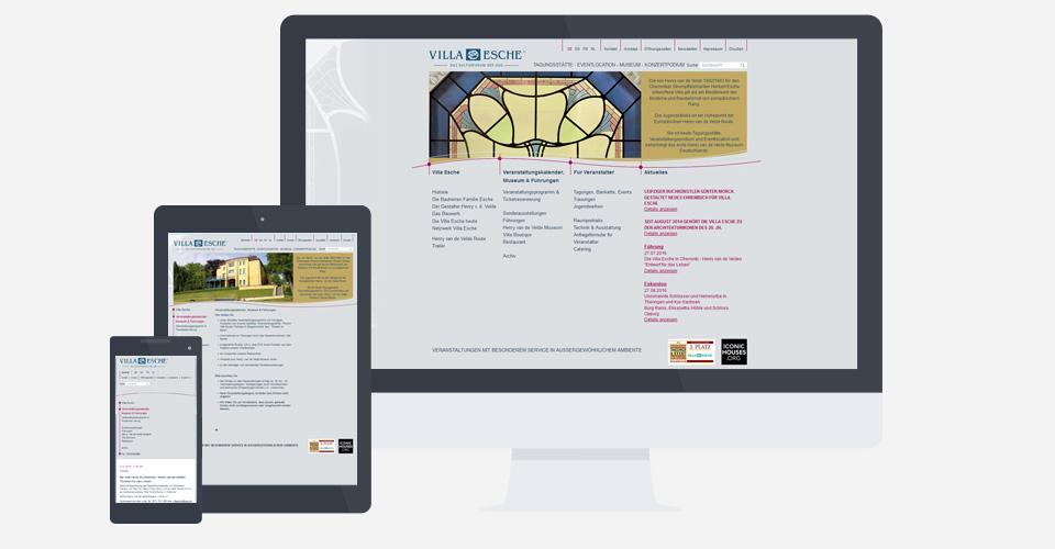 Webseite Villa Esche mit Responsive Design