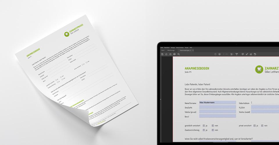 Zahnarztpraxis Silke Lotthardt, Anamnesebogen online und gedruckt zur Vorinformation