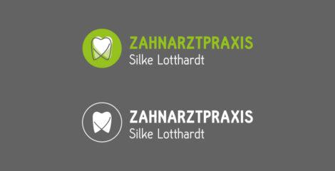 Signet Zahnarztpraxis Silke Lotthardt in Varianten: Anwendung auf dunklem Untergrund